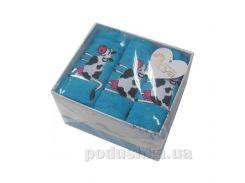 Набор махровых полотенец Arya Cow голубой 40х60 см - 3 шт