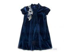 Платье нарядное бархатное Модный карапуз 03-00547 темно-синее 128