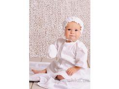 Крестильный набор для мальчика без крыжмы Модный карапуз 03-00584 Белый 68