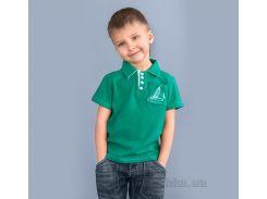 Футболка поло для мальчика Модный Карапуз 03-00508 зеленая 110