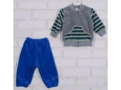 Спортивный костюм Татошка 08340 серый в зеленую полоску 104