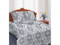 Комплект постельного белья TM Nostra Сатин серо-синий узоры Двуспальный евро комплект