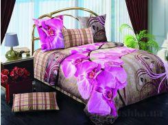 Комплект постельного белья TM Nostra Сатин лилово-бежевый цветы-клетка Двуспальный евро комплект