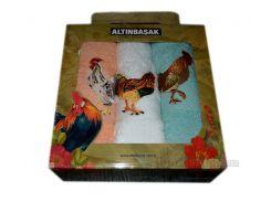 Набор махровых полотенец для кухни Altinbasak Петух Horoz s-b-y 30х50 см - 3 шт