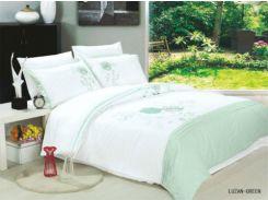 Постельное белье вышивка Le Vele LUZAN green Двуспальный евро комплект