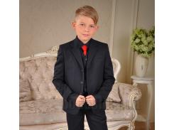 Пиджак школьный для мальчика Милана ПО-03102 черный 30 (Р-122, ОГ-60, ОТ-57)