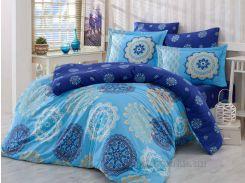Постельное белье Hobby Exclusive Sateen Ottoman голубое Двуспальный евро комплект