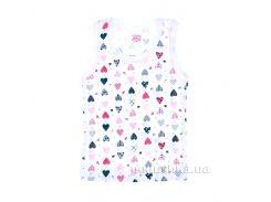 Майка для девочки Татошка 25628 бело-розовая Сердечки 74