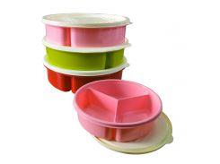 Контейнер для продуктов на 3 секции Bager 1200 мл BG-393 цвет красный