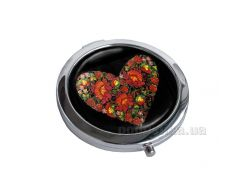 Зеркальце карманное Devays Maker Петриковская роспись Сердце 22-08-376