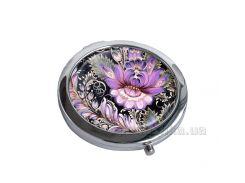 Зеркальце карманное Devays Maker Петриковская роспись с розовым узором 22-08-381
