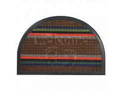 Коврик овальный придверный с узором МД 40х60 см TZR09503/Br коричневый полосатый
