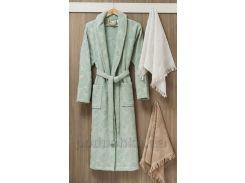 Мужской халат с шалевым воротником Arya Misley L кремовый
