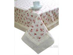 Скатерть Престиж Прованс Red Rose из комбинированной ткани 140х140 см