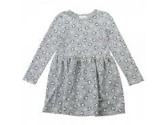 Платье трикотажное для девочки Kids Couture 16-17-1 серое с пингвинами 134