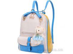 Сумка-рюкзак для девочки Traum 7006-14 белая с желто-голубым
