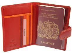 Кожаная обложка для паспорта Visconti RB-75 Sumba red multi