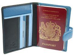 Кожаная обложка для паспорта Visconti RB-75 Sumba blue multi