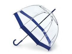 Женский зонт-трость прозрачный Fulton Birdcage-1 L041 Navy синий