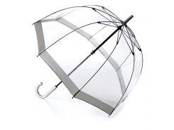 Женский зонт-трость прозрачный Fulton Birdcage-1 L041 Silver серебряный