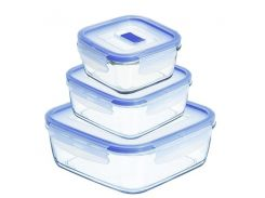 Набор форм для хранения Luminarc Pure Box Active квадратные 380 мл. 770 мл. 1220 мл N2622