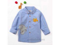 Рубашка для мальчика JBCK 7901 фланель голубая размер 120 (6-7 лет)