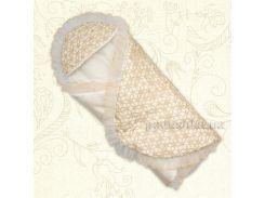 Конверт для новорожденного Квитонька Бетис атлас-гипюр зима цвет молочный