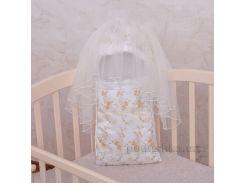 Конверт с ортопедическим матрасом для новорожденного Королевский Бетис атлас-гипюр зима цвет белый