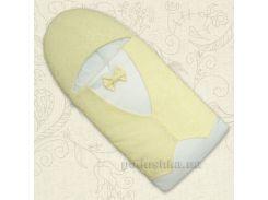 Конверт для новорожденного Маленький принц Бетис атлас-жаккард зима цвет желтый