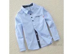 Рубашка с длинными рукавами для мальчика Lazy dog 1709 голубая 110 (4-5 лет)