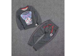 Спортивный костюм утепленный для мальчика C-18G kids T7001 темно-серый размер 90 (2-3 года)