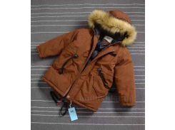 Куртка зимняя для мальчика Аляска JDK B488 коричневая размер 130 (8 лет)