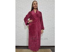 Халат женский длинный Nusa NS-8535 баклажан L/XL