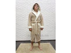 Халат мужской длинный с капюшоном Nusa NS-7210 бежевый-1 XXXL