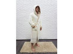 Халат мужской длинный с капюшоном Nusa NS-7210 крем-1 XXXL