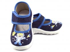 Детские тапочки Денис космонавт Waldi 225-629 серый джинс 21