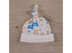 Шапочка для малышей Мини мишка Бетис интерлок голубой Размер 62