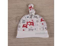 Шапочка для малышей Мини мишка Бетис интерлок красный 52