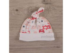 Шапочка для малышей Мини мишка Бетис интерлок коралловый 50