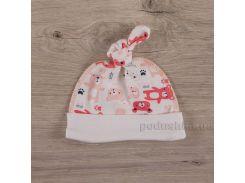 Шапочка для малышей Мини мишка Бетис интерлок коралловый 52