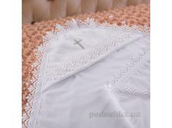 Крыжма для новорожденного Ажурна Бетис двойная велюр-кулир цвет молочный
