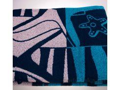 Полотенце махровое жаккард Yanatex синий 100х150 см