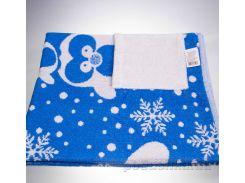 Полотенце махровое жаккард Yanatex с карманом пингвин синий размер 90х90 см