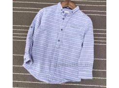 Рубашка с длинными рукавами для мальчика Okkoai 80011 голубая размер 108