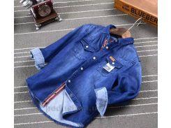 Джинсовая рубашка для мальчика Okkoai 86006 синяя размер 114