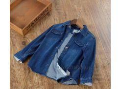 Джинсовая рубашка для мальчика Okkoai 79998 синяя размер 114