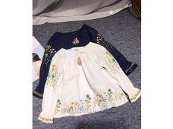 Блузка для девочки HSXWB 926 синяя с вышивкой 104