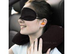 Подушка дорожная надувная для отдыха с маской для сна и бирушами цвет серый