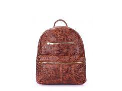 Рюкзак женский кожаный Poolparty Mini Bckpck leather croco brown