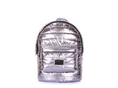 Рюкзак стеганый Poolparty Backpack theone silver